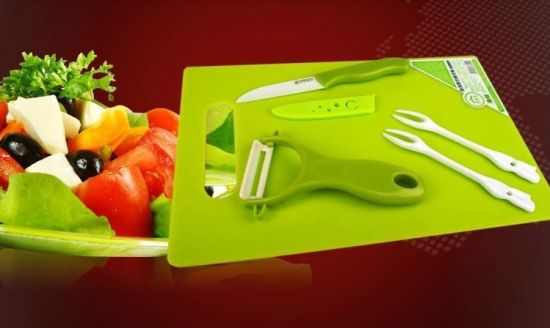 6PCS Ceramic Fruit Forks with Chopping Boad/Knife/Peeler Set pictures & photos