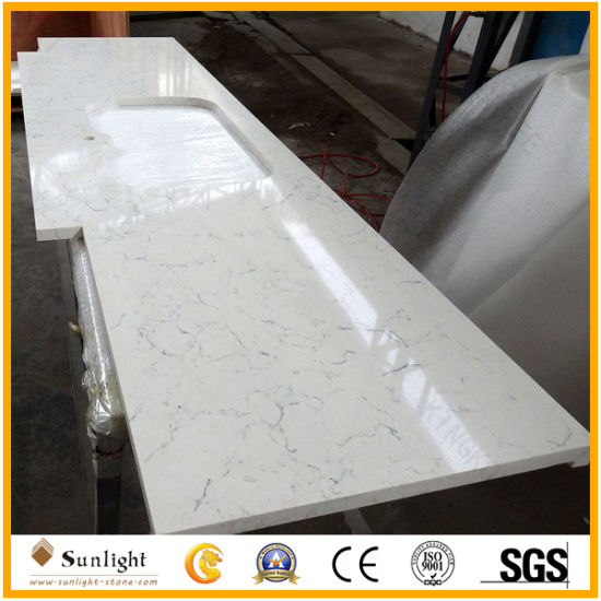 China Factory Customize White Quartz Countertop for Kitchen with Cheap Cost