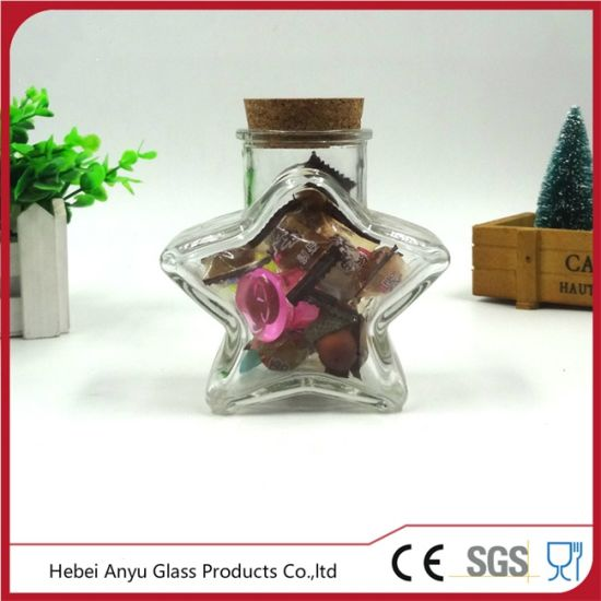 Empty Star Shape Glass Gift Bottle with Cork