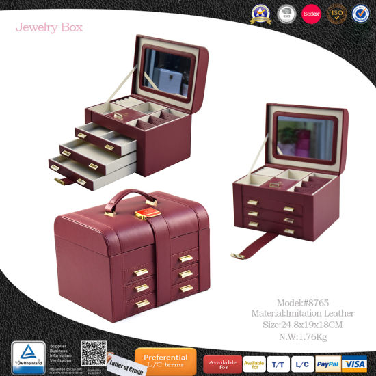 Functional Multi Wooden Gift Jewelry Storage Box with Sticking Belt (8765) pictures & photos