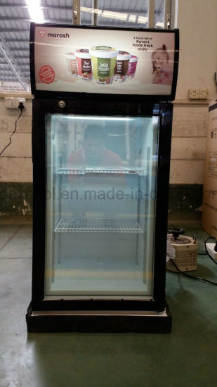Desktop Vertical Mini Display Freezer Gelato Freezer with 3 Layer Glass Door pictures & photos