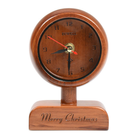 Wholesale Table Stand Small Beech Wood Alarm Clock for Gift
