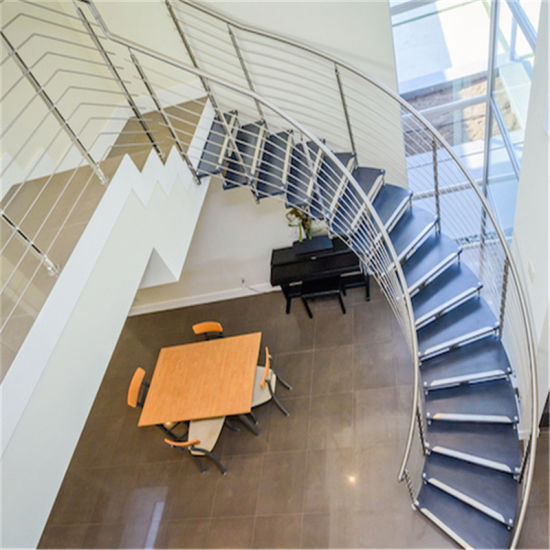 China Customized Indoor Wooden Curved Staircase With Stainless Steel Railing Design China Curved Staircase Wood Tread Staircase,Residential Small Backyard Landscape Design