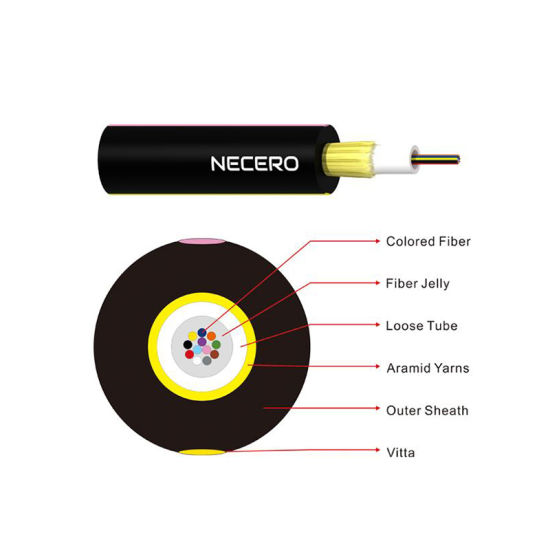 Jet All Dielectric Self Supporting Aerial Fibre Optic Cable PE Jacket Indoor Outdoor Fiber Optic Cable