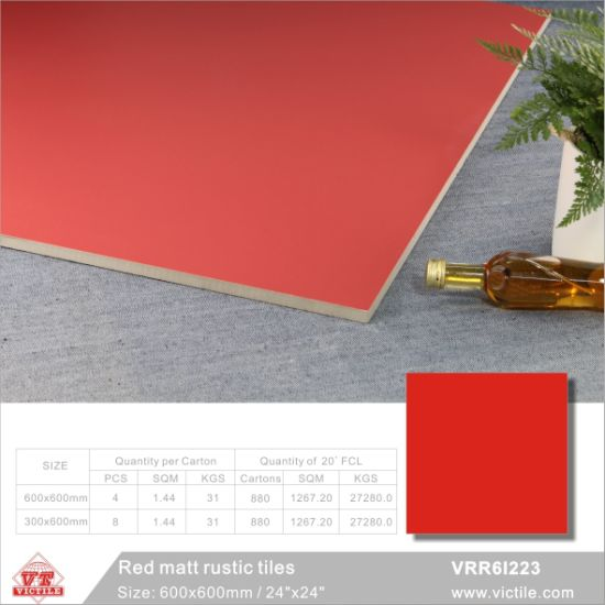 China Foshan Red Building Material Pure Color Rustic Porcelain Floor