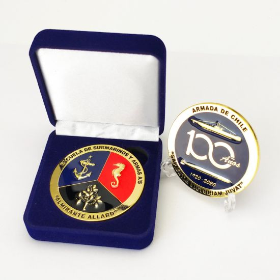 Factory Custom Metal Art Craft 3D Logo Epoxy Gold Coins Laser Marking Name Tag Chile Navy Military Honor Souvenir Challenge Coins