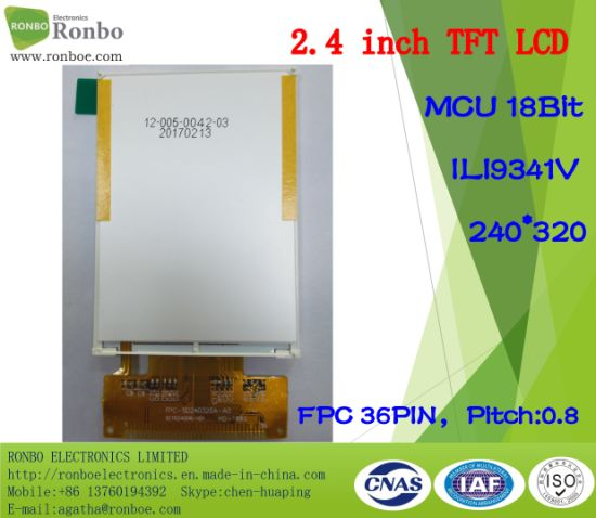 2.4 Inch Qvga 240X320 MCU 18bit 36pin TFT LCD with High Brightness pictures & photos