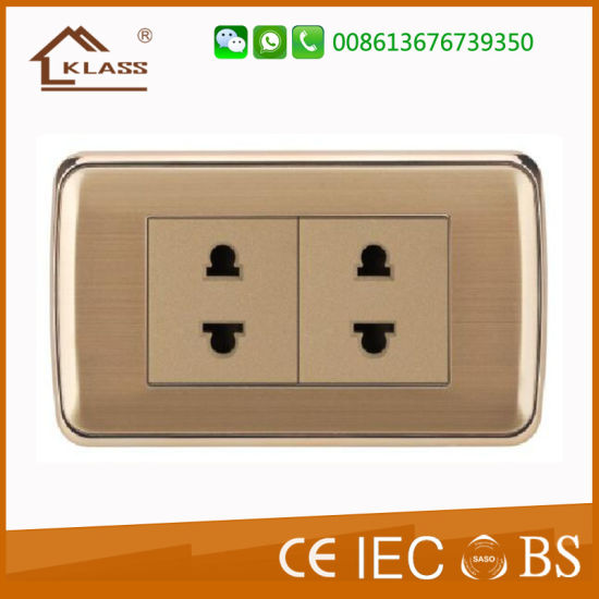 Top Quality Brushed Stainless Steel Double 2pin Socket