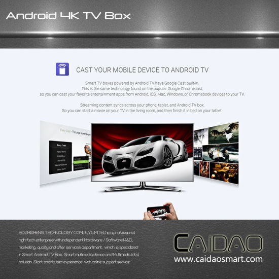 New Model Caidao Smart Tvbox Amlogic S912 2g+16g Google Android 7.1.1 TV Box pictures & photos