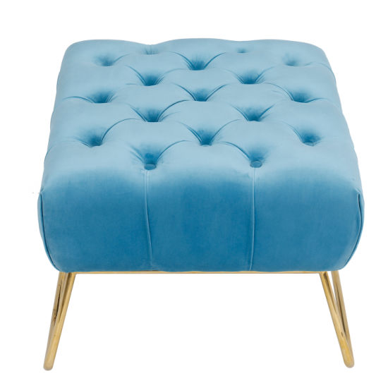 Surprising Tufted Ottoman Stainless Steel In Gold Velvet Fabric Customarchery Wood Chair Design Ideas Customarcherynet