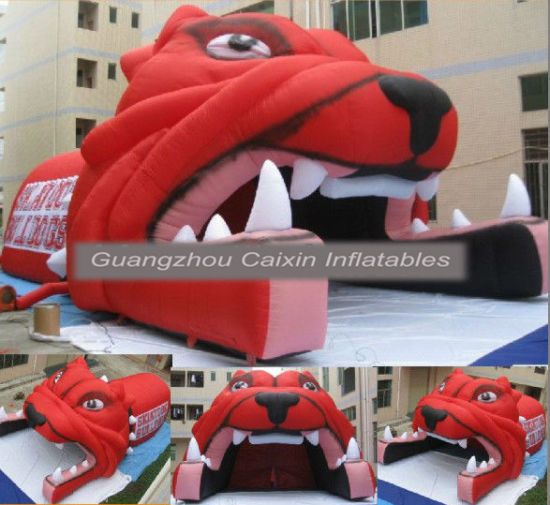 2019 New Inflatable Football Helmet Tunnels Blast Tiger Mascot Blast Tunnel pictures & photos
