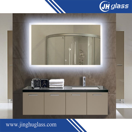 Middle East Type Hot Sale PVC Frame Bathroom Decorative LED Lighted Mirror with Cover