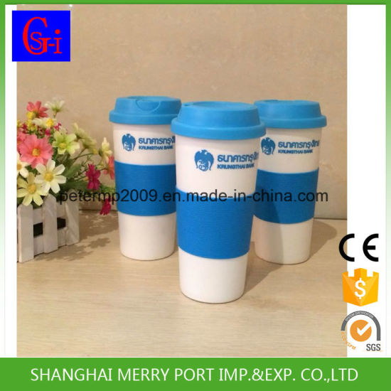 Disposable Plastic Coffee Cup Set, Plastic Coffee Cup with Silicon Lid, Plastic Coffee Cups with Handles pictures & photos