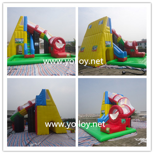 Inflatable Tunnel Water Slide with Pool pictures & photos