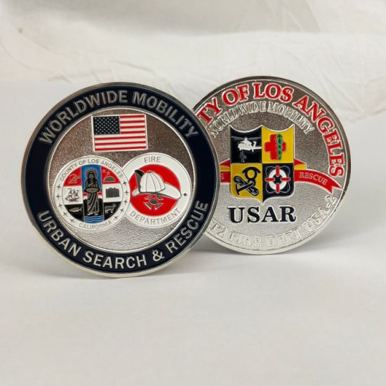 Custom Us Flag Fire Department Challenge Coins Zinc Alloy Plated Silver Coins for Souvenir Gift