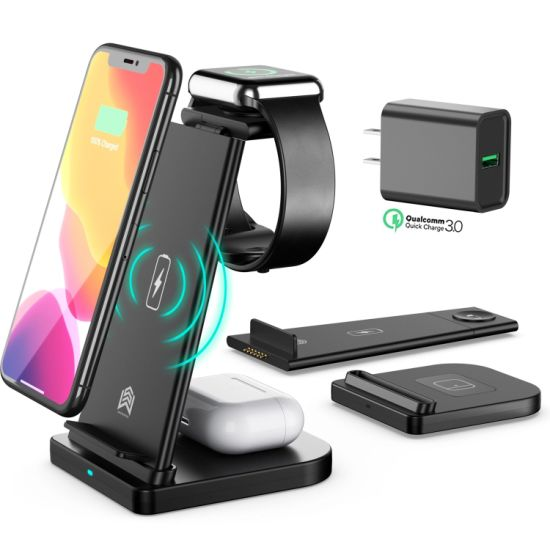 3 in 1 Wireless Charger Stand Station 10W Qi CE FCC RoHS Certificate Wireless Mobile/USB/Fast/Phone/Carcharging Dock for iPhone for Iwatch for Airpods