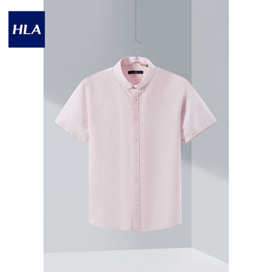 Hla Fresh and Pure Color Short-Sleeved Casual Shirt 2020 Summer New Cotton Oxford Short Lining Men