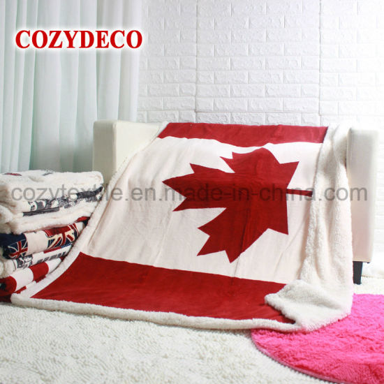 National Flag Sherpa Flannel Throw Blanket for Bedding Sofa pictures & photos