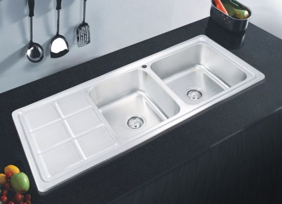 China Custom Size High Grade Square Stainless Steel Kitchen Sink With Double Bowl China Custom Size Sink Double Bowl Sink