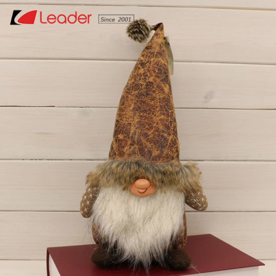Enchanted Nordic Sitting Fabric Gnome Craft with Long Brown Dotted Hat for Xmas Decoration and Holiday Gifts, Customize Your Own Fabric Sewing Dolls