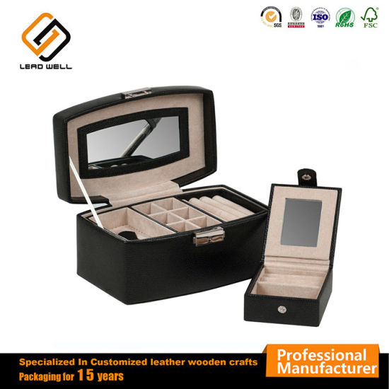 Black Leather Gift Box With Drawer Mirror Jewelry Box Case