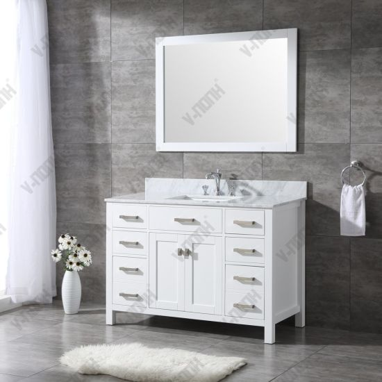 White Finish Bathroom Vanity Units