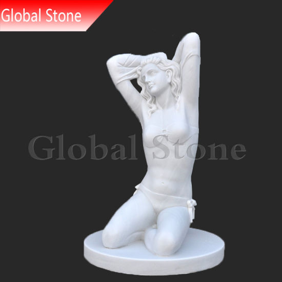 Hand Carved White Stone Sculpture Beautiful Lady Statue (GSS-231) pictures & photos