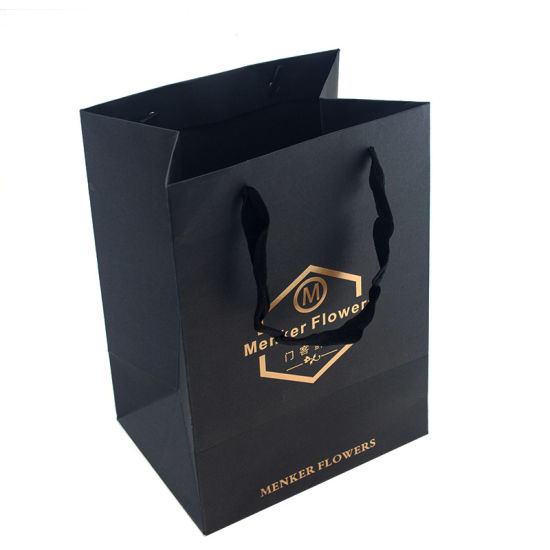 High Quality Customized Hot Foil Stamping Logo Paper Bag pictures & photos