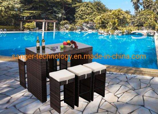 7 Pieces Outdoor Patio Garden Bar Table Stools Dining Set Wicker Rattan Outdoor Furniture pictures & photos