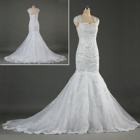 2019 Cap Sleeves Lace Bridal Gown Mermaid Wedding Dresses Ka054