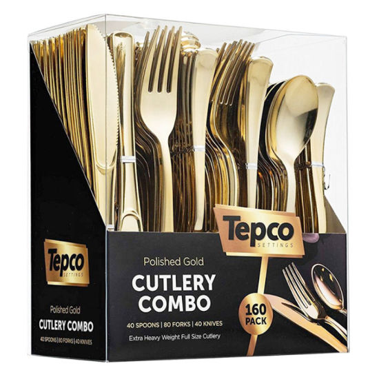 Disposable Flatware Silverware Plastic Gold Spoons Forks Knives Cutlery Set