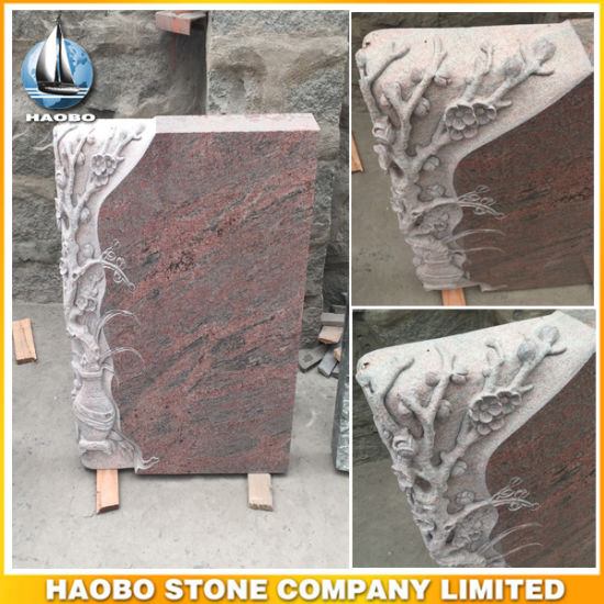 Indian Multicolor Red Granite Gravestone with Flowers in Vase