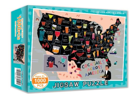 Cocktails Across America Puzzle, 1000 Pieces Jigsaw Packed with High-End Box