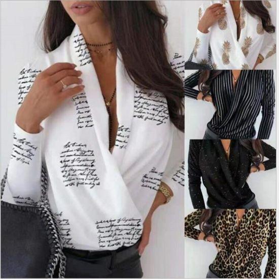 Womens Blouse Long Sleeve V-Neck Pineapple Letter Print Women's Shirt