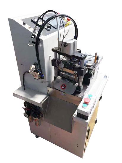 Wl-610 Rectangle Shape 45 and 135 Degree Bevel Angle Tape Belt Satin Webbing Cutter Machine Tape Rotary Cutting Machine