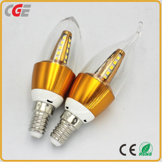 Hot Selling E14 Living Room PC 5W Aluminum Alloy Body Cancdle Bulb LED for Ceiling Light
