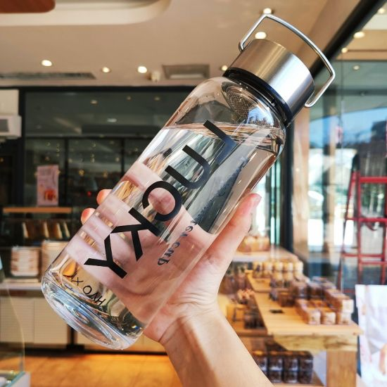 2020 Clear Borosilicate 600ml 1000ml 1300ml Glass Water Bottle with Stainless Steel Lid