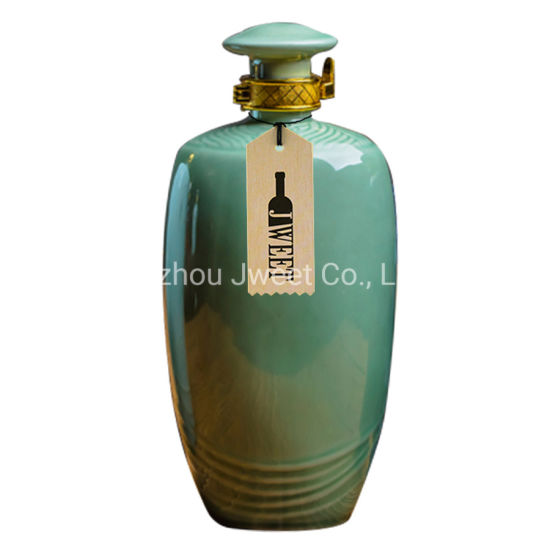Good Quality Round Offset Printing 750ml Tequila Ceramic Bottle