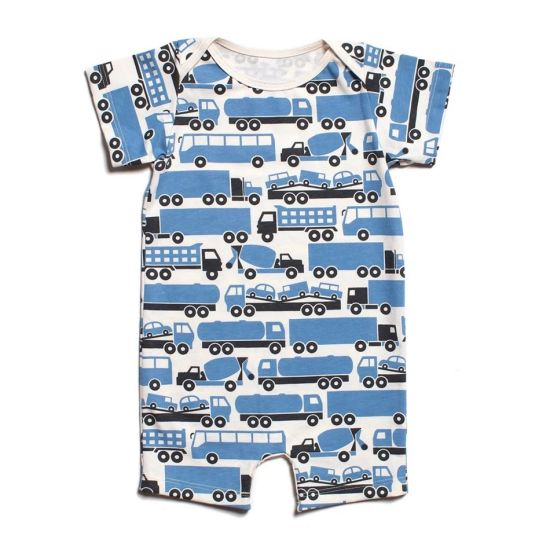 Bkd Blue Car Pattern Summer Season Organic Baby Romper Clothes