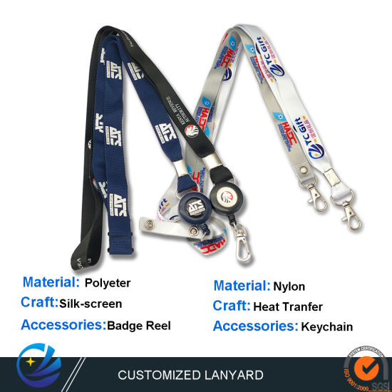 China Factory Custom Polyester Materiel Heat Transfer Printing Lanyard Wholesale Company ID Card Sublimation Fashion Neck Nylon Ribbon Fro Promotional Gift