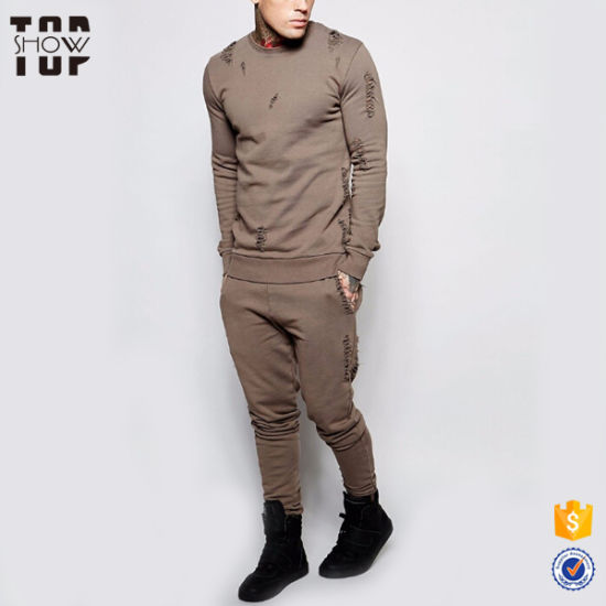 Mens Fashion Slim Fit Distressed Wholesale Men Sweat Suits with Custom Logo