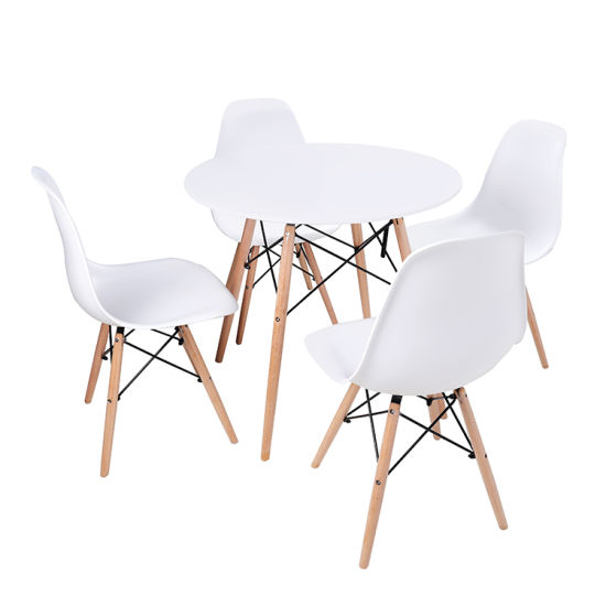 Wholesale Simple Design White MDF Round Dining Table and Chair Set