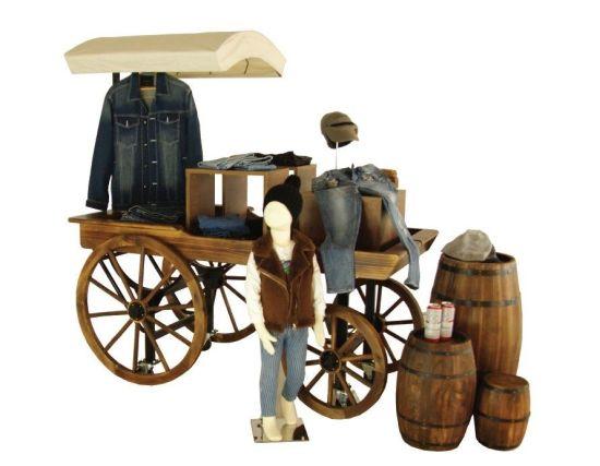 Wooden Wagon Store Display Cart