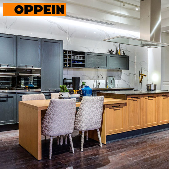 Oppein 2018 New Design European Style Solid Wood Fitted Kitchen Cabinets Plcc18012