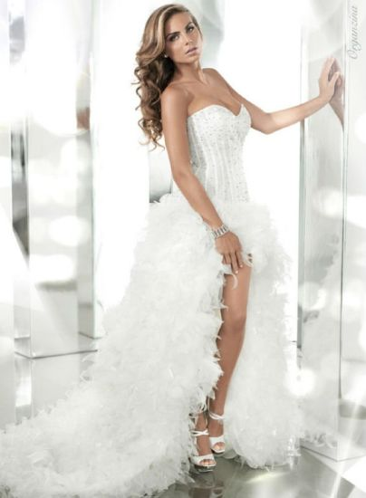 China White Beaded Bodice Front Short Long Back Feather Fashion Prom ...