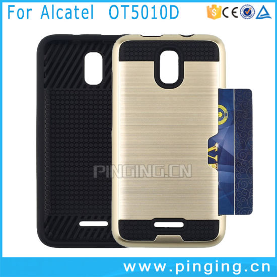 new styles 60394 5fdb9 Credit Card Slot Back Cover Case for Alcatel Pixi 4 Ot5010d