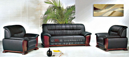 Modern Office Leather Wooden Sofa Set Designs