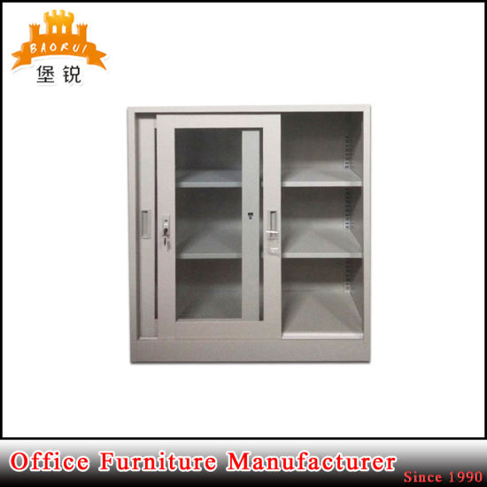 China Steel Sliding Glass Door Metal Cupboard Low Filing Cabinet
