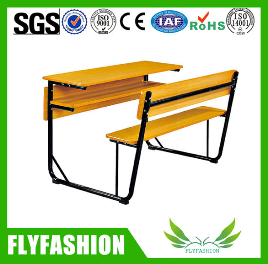 china modern furniture classroom student double desk with bench sf