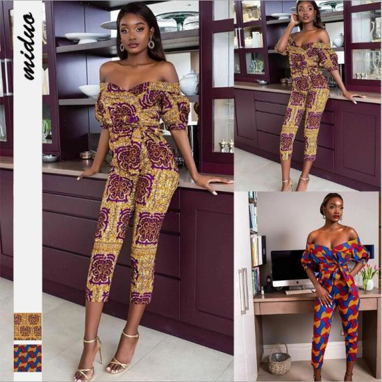 Fashion Digital Printing Sexy Zipper Jumpsuit African Style Jumpsuit with Belt